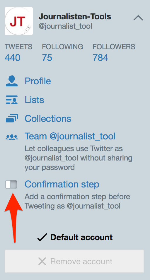 "Tweetdeck-Einstellungen: ""Confirmation step"""