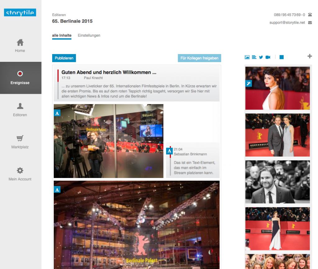 Das Storytile-Backend: In der Mitte der LiveBlog, rechts der neu einlaufende Content (Foto: Screenshot)