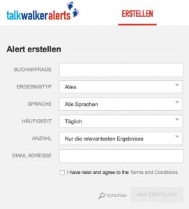 Talkwalker Alerts bietet viele Einstellungsmöglichkeiten (Foto: Screenshot)