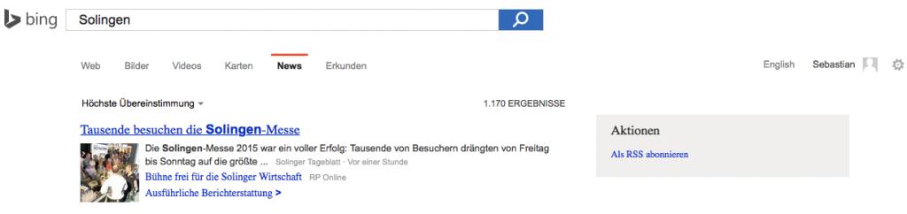 Bing News: Abonnieren Sie Suchergebnisse per RSS-Feed (Foto: Screenshot)