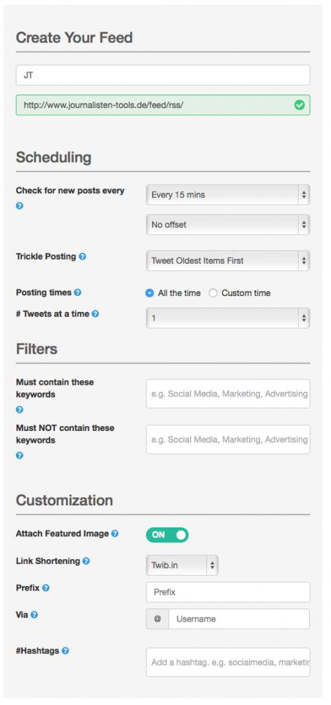 Das Einlesen und Posten von Beiträgen lässt sich gezielt steuern. Foto: Screenshot