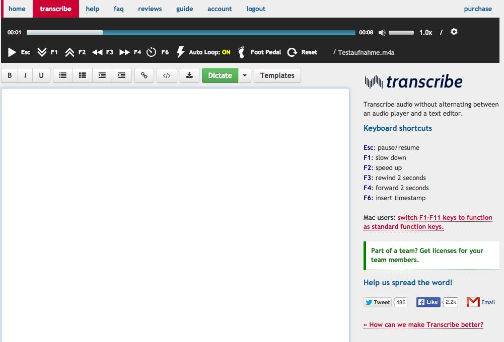 Transcribe hat eine übersichtliche Oberfläche (Foto: Screenshot)