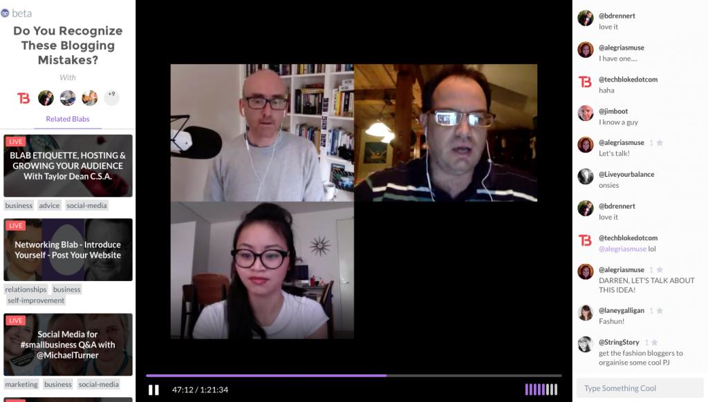 Blab: Bis zu vier Teilnehmer können sich in Bild und Ton unterhalten (Foto: Screenshot)