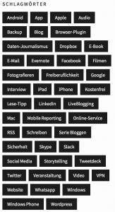 Die wichtigsten Schlagwörter (Foto: Screenshot)