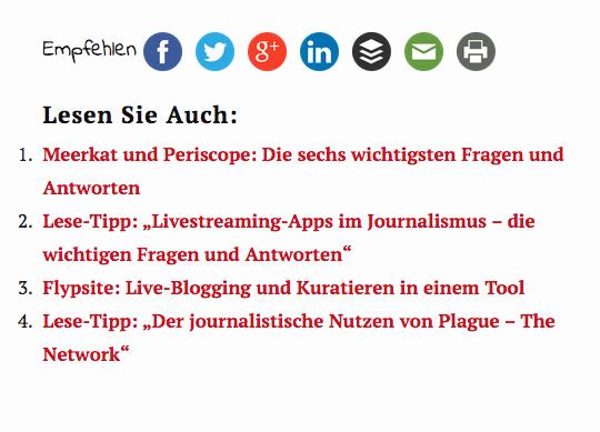 """""""Lesen Sie auch"""" - relevante Beiträge unter jedem Beitrag (Foto: Screenshot)"""