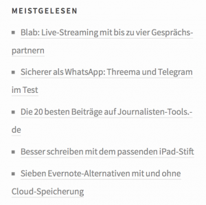 Screenshot Meistgelesen-Box
