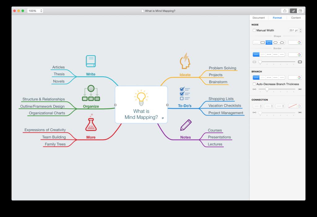 Mind Node 2.0: Aufgeräumte Oberfläche auf dem Mac (Foto: Entwickler)