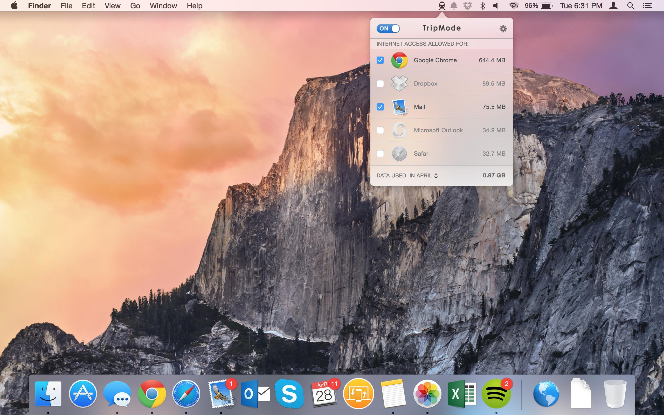Ein kleines Icon oben rechts erlaubt den einfachen Zugriff auf die Liste der Apps, die gerne online gehen. (Foto: Tripmode.ch)