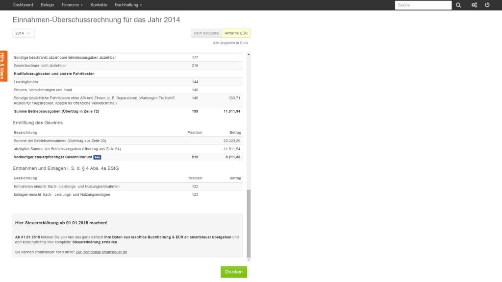 LexOffice erstellt die amtliche Einnahme-Überschuss-Rechnung (Foto: LexOffice)