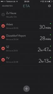 ETA: Ankunftszeit für mehrere Ziele auf einen Blick (Foto: Screenshot)