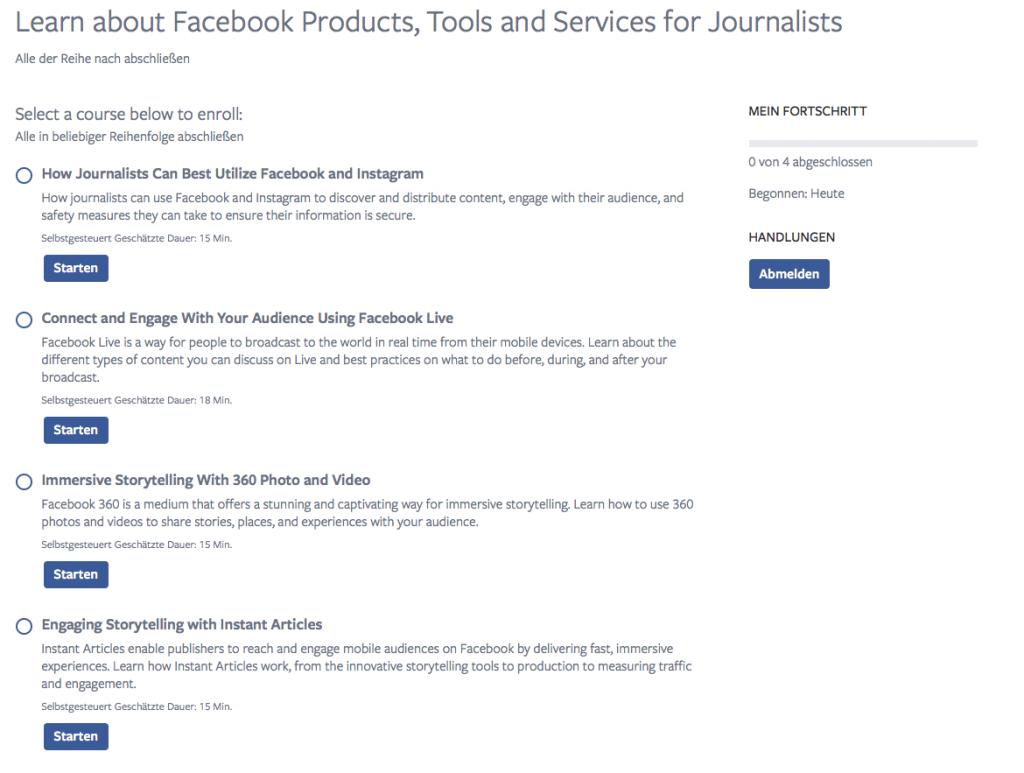 Zum Start bietet Facebook vier Kurse für Journalisten an. (Screenshot: Facebook.com)