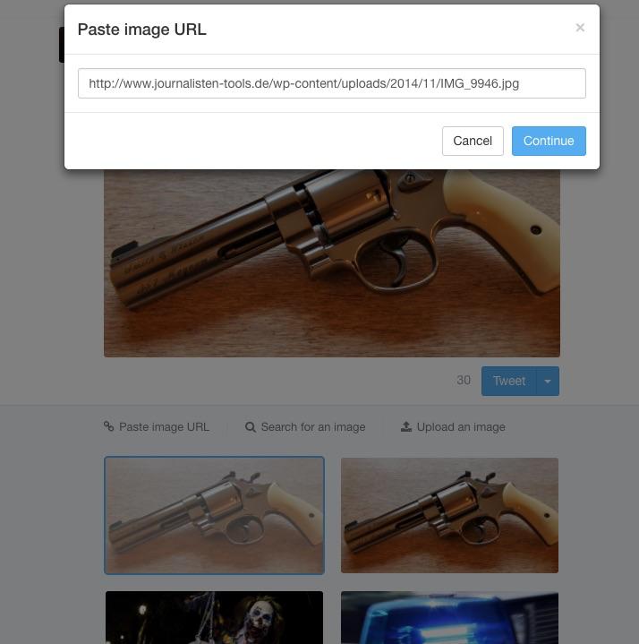 Wem die gefundenen Bilder nicht gefallen, der kann eine Bild-Datei hochladen. Screenshot: Uwe Renners