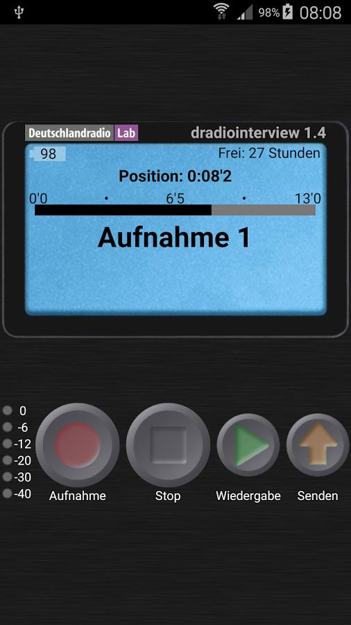 DRadioInterview hat eine sehr einfache Oberfläche. Foto: Screenshot