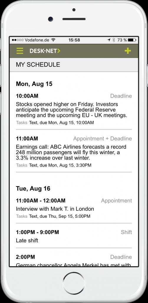 Die Themenübersicht auf dem Smartphone (Foto: Desk-Net)