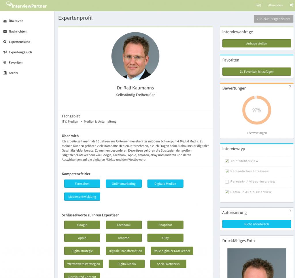 Auf den Profil-Seiten - hier das von Gründer Ralf Kaumanns - findet man Informationen zum Experten - und sein druckfähiges Bild (Foto: Screenshot)