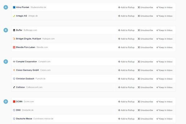 Unroll.me listet nach der Analyse die entdeckten Newsletter auf (Foto: Screenshot)