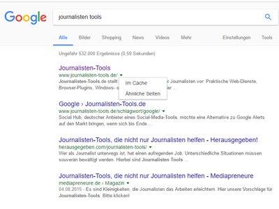 Auch Google und Bing speichern ältere Versionen einer Website - im Cache (Foto: Screenshot)
