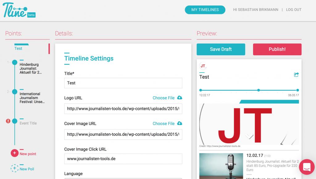 Das Backend von Tline.io (Foto: Screenshot)