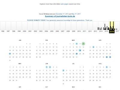 Von vielen Websites werden mehrere Versionen gesichert. (Foto: Screenshot)