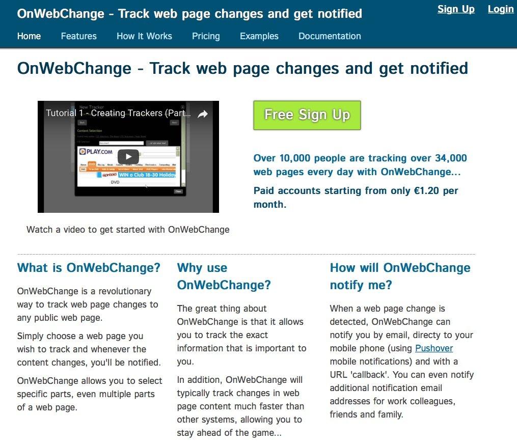 Homepage von OnWebChange.com (Foto: Screenshot)