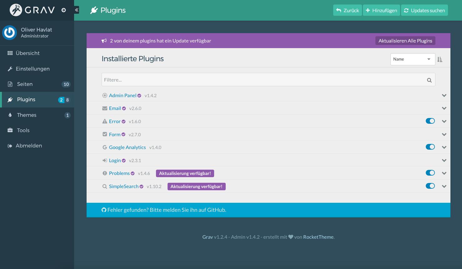 Grav bietet schon über 200 Plugins, mit denen sich die eigene Seite technisch aufrüsten lässt. Installiert werden die Plugins direkt aus der Admin-Oberfläche heraus. (Foto: Screenshot)