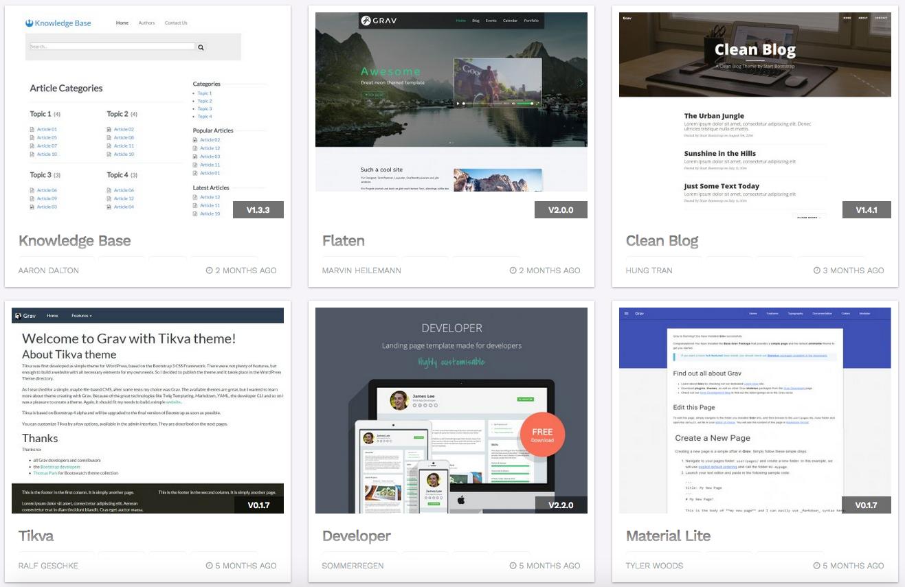 Für viele Anwendungszwecke hält die Grav-Website fertige Themes zum Download bereit. (Foto: getgrav.org / Screenshot)