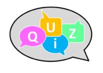 Sprechblase mit Quiz