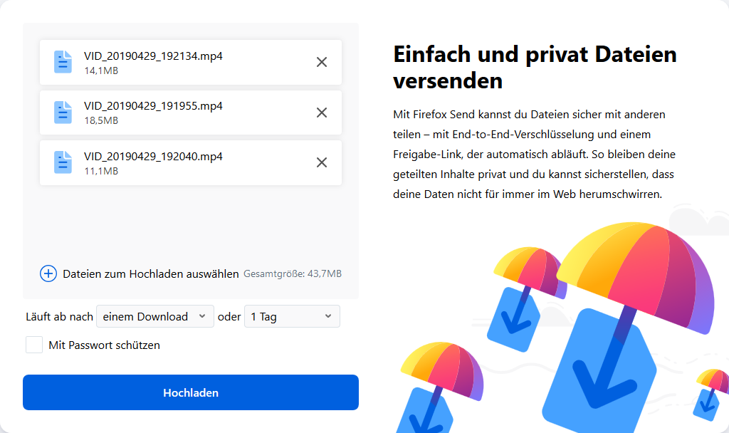 Firefox Send - Upload