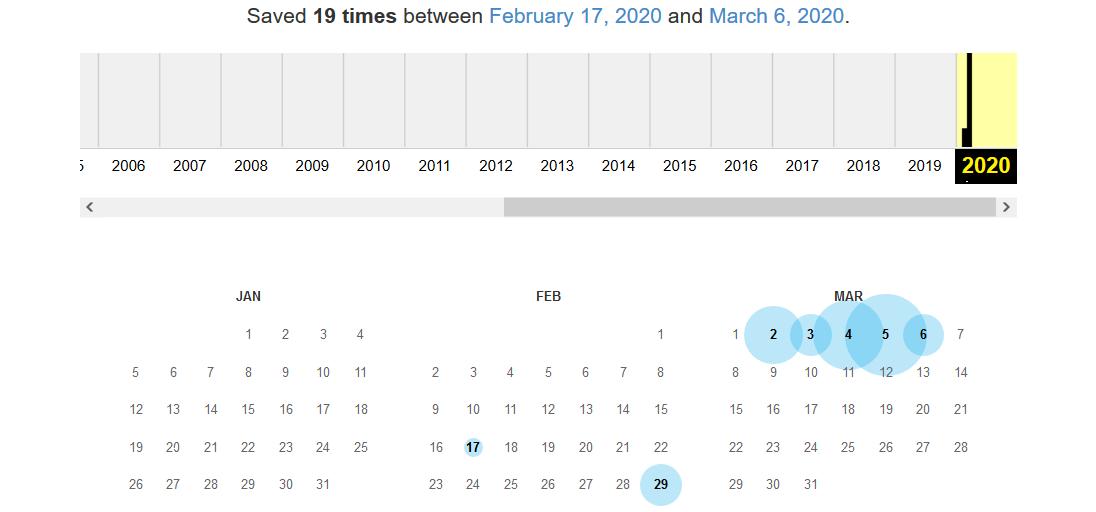 Screenshot Wayback Machine mit Kalenderansicht